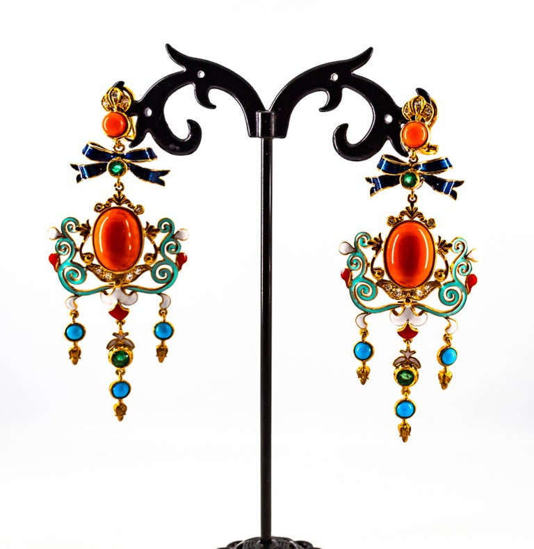 Art Nouveau White Diamond Emerald Coral Turquoise Yellow Gold Clip-On Earrings For Sale 4
