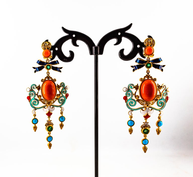 Art Nouveau White Diamond Emerald Coral Turquoise Yellow Gold Clip-On Earrings For Sale 5