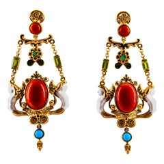 Art Nouveau White Diamond Emerald Coral Turquoise Yellow Gold Clip-On Earrings