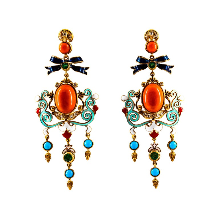 Art Nouveau White Diamond Emerald Coral Turquoise Yellow Gold Clip-On Earrings For Sale
