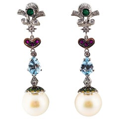 Art Nouveau White Diamond Emerald Ruby Aquamarine Pearl White Gold Drop Earrings