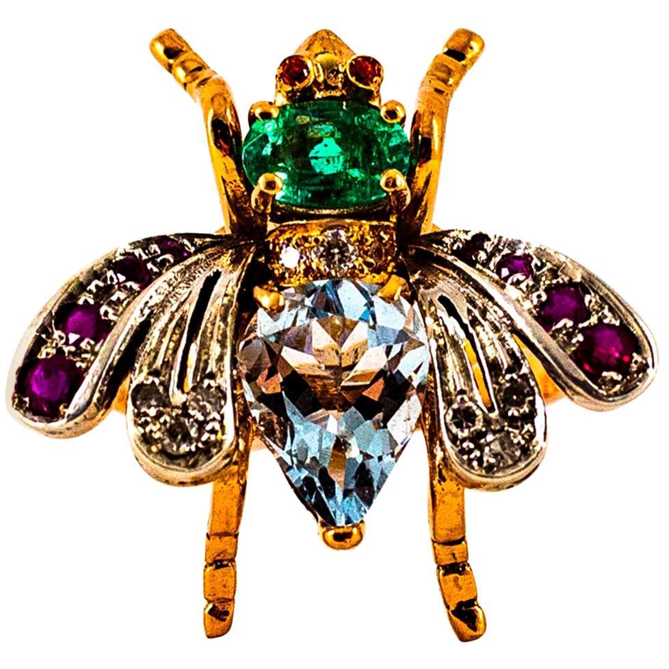 Art Nouveau White Diamond Emerald Ruby Aquamarine Yellow Gold Cocktail Ring