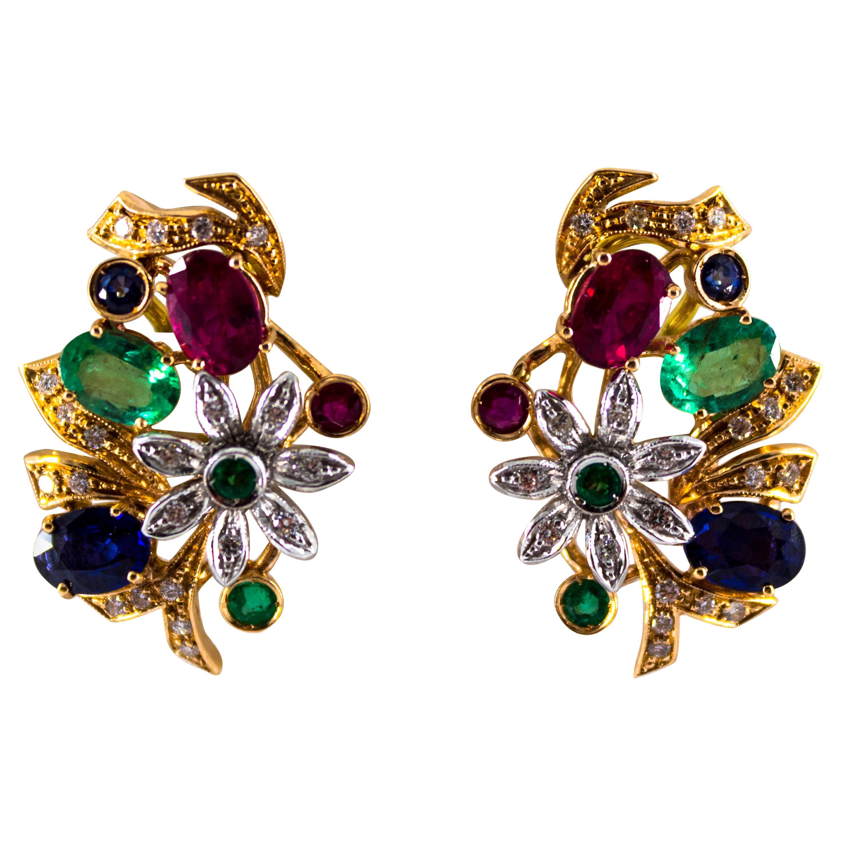 Art Nouveau White Diamond Emerald Ruby Blue Sapphire Yellow Gold Dangle Earrings
