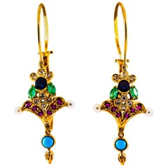 Art Nouveau White Diamond Emerald Ruby Sapphire Turquoise Yellow Gold Earrings
