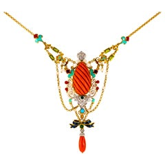 Art Nouveau White Diamond Emerald Turquoise Red Coral Pearl Yellow Gold Necklace
