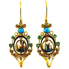 "Art Nouveau White Diamond Emerald Turquoise Yellow Gold Drop ""Birds"" Earrings"