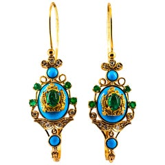 Art Nouveau White Diamond Emerald Turquoise Yellow Gold Lever-Back Earrings