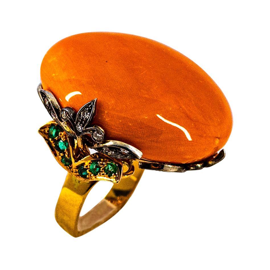 Art Nouveau White Diamond Mediterranean Coral Emerald Yellow Gold Cocktail Ring