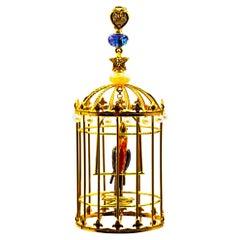 "Art Nouveau White Diamond Opal Tanzanite Pearl Yellow Gold ""Birdcage"" Pendant"
