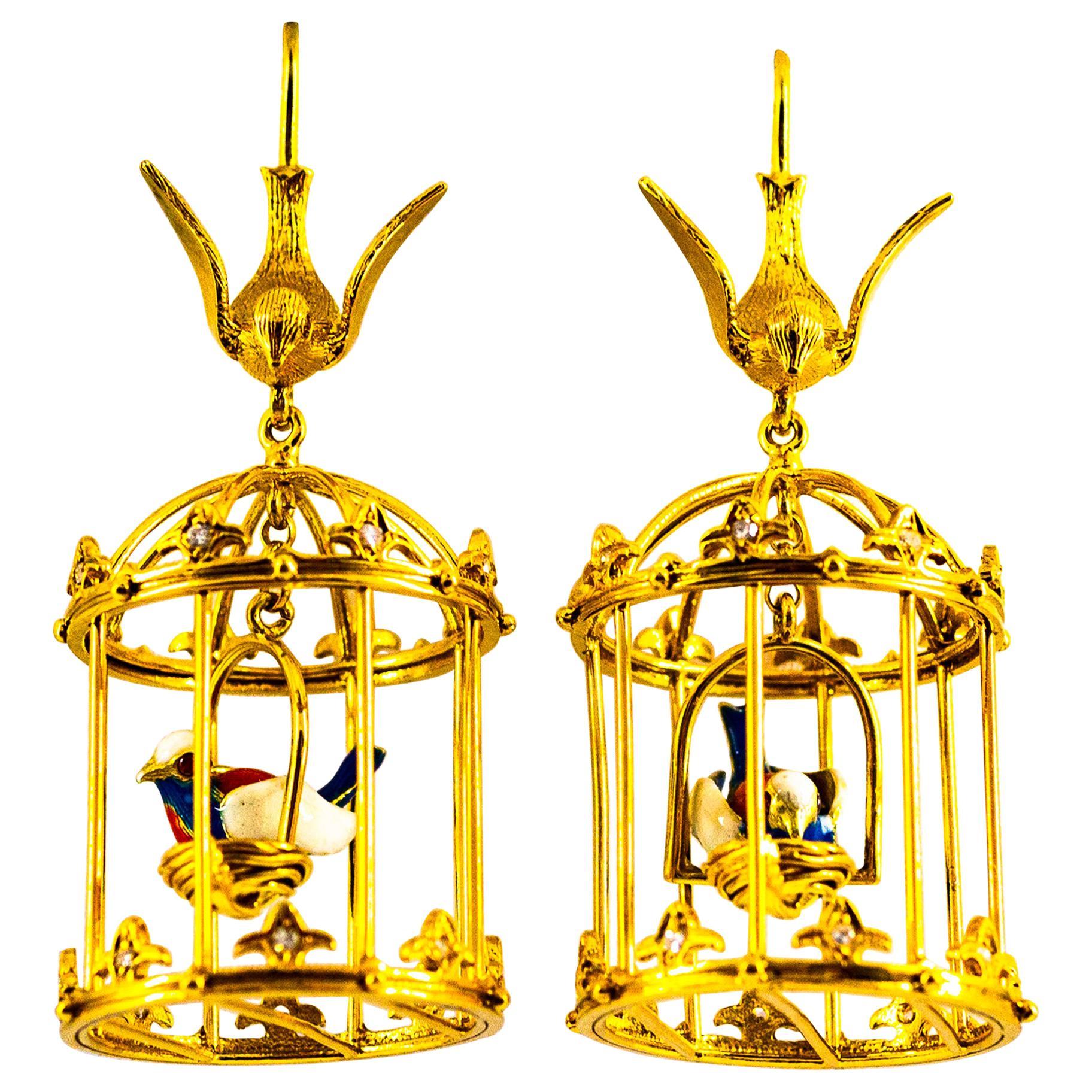 Art Nouveau White Diamond Pearl Coral Enamel Yellow Gold Birdcage Drop Earrings