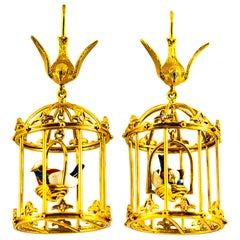 Art Nouveau White Diamond Pearl Coral Enamel Yellow Gold Birdcage Drop Earrings