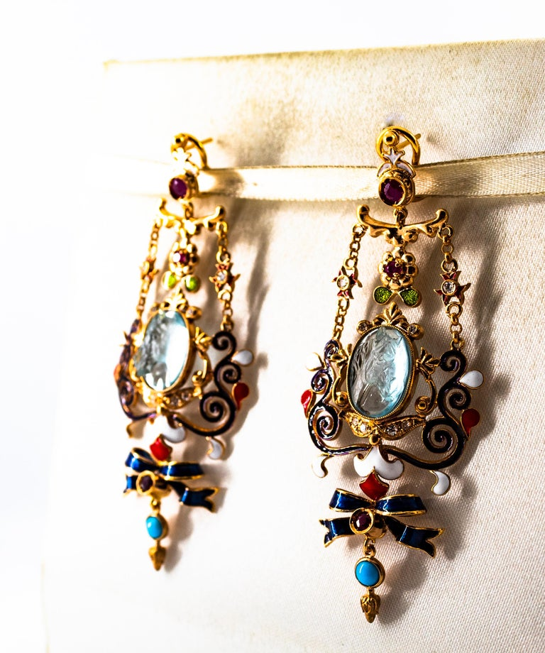 Art Nouveau White Diamond Ruby Coral Carved Topaz Yellow Gold Clip-On Earrings For Sale 6