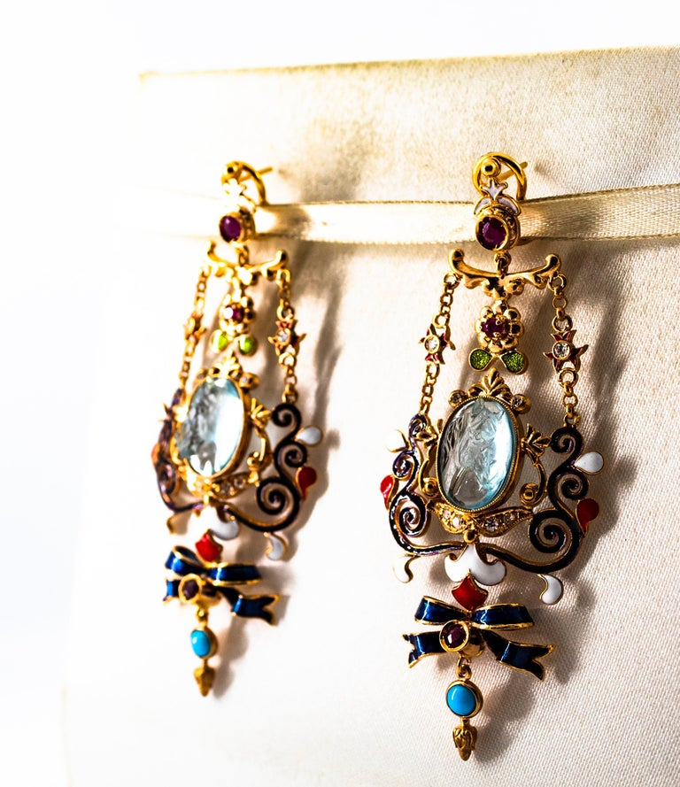 Art Nouveau White Diamond Ruby Coral Carved Topaz Yellow Gold Clip-On Earrings For Sale 7