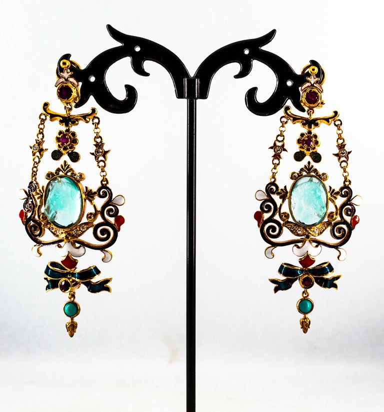 Art Nouveau White Diamond Ruby Coral Carved Topaz Yellow Gold Clip-On Earrings For Sale 8