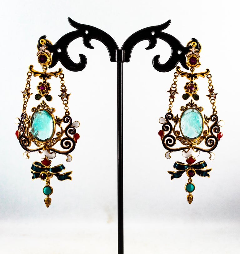 Art Nouveau White Diamond Ruby Coral Carved Topaz Yellow Gold Clip-On Earrings For Sale 9