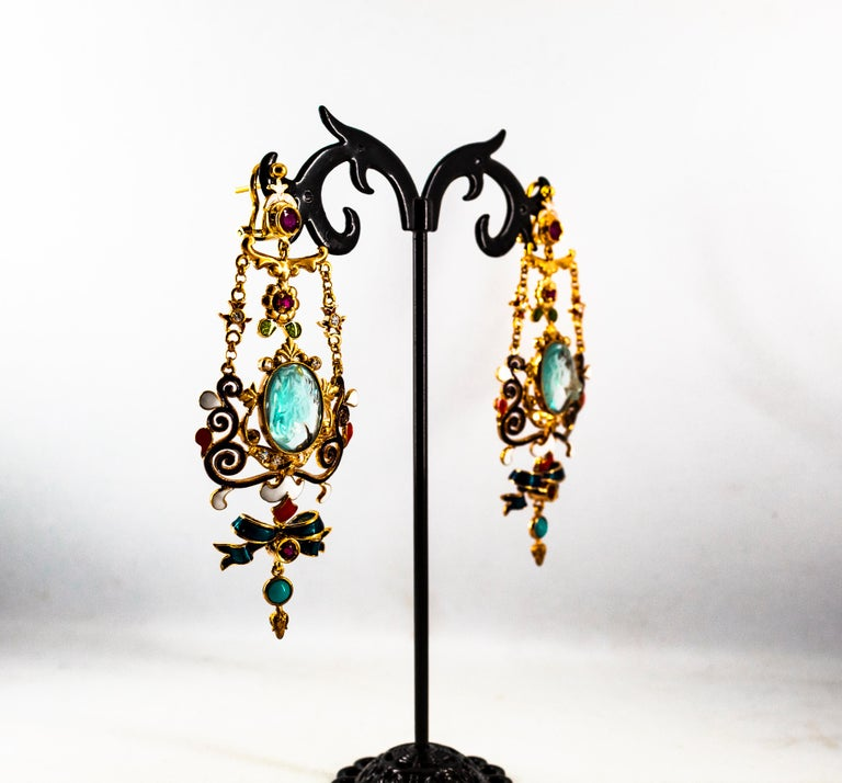 Art Nouveau White Diamond Ruby Coral Carved Topaz Yellow Gold Clip-On Earrings For Sale 10