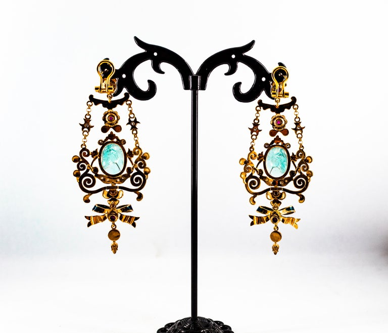 Art Nouveau White Diamond Ruby Coral Carved Topaz Yellow Gold Clip-On Earrings For Sale 11