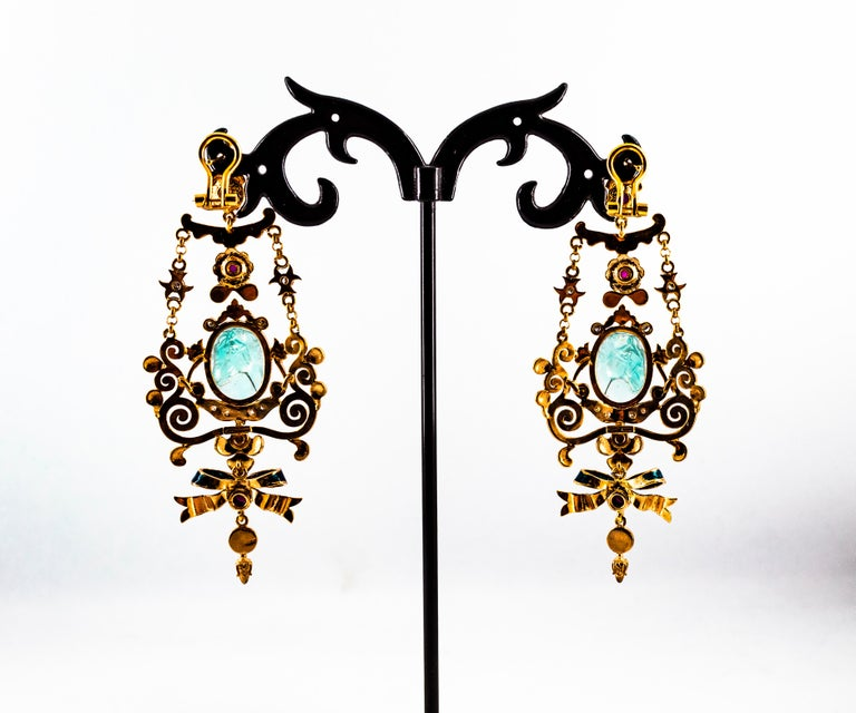 Art Nouveau White Diamond Ruby Coral Carved Topaz Yellow Gold Clip-On Earrings For Sale 12