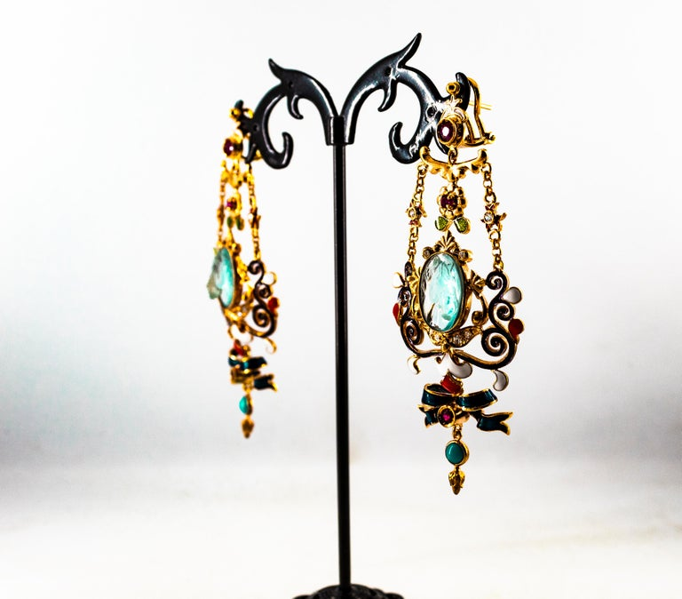 Art Nouveau White Diamond Ruby Coral Carved Topaz Yellow Gold Clip-On Earrings For Sale 13