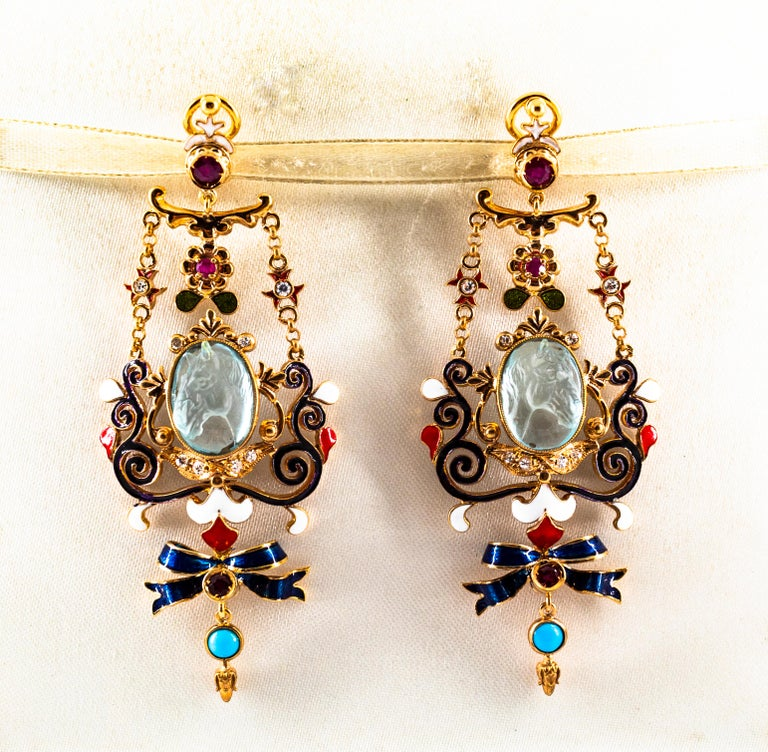 Art Nouveau White Diamond Ruby Coral Carved Topaz Yellow Gold Clip-On Earrings In New Condition For Sale In Naples, IT