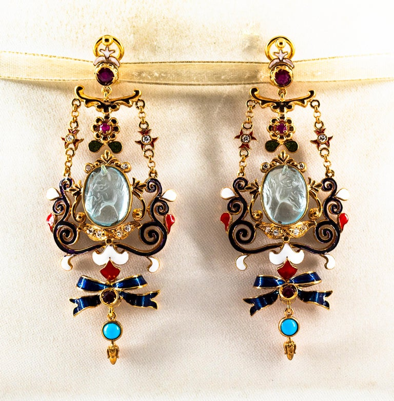 Women's or Men's Art Nouveau White Diamond Ruby Coral Carved Topaz Yellow Gold Clip-On Earrings For Sale