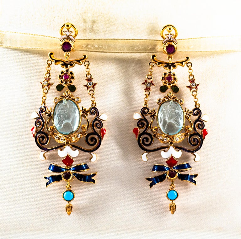 Art Nouveau White Diamond Ruby Coral Carved Topaz Yellow Gold Clip-On Earrings For Sale 1