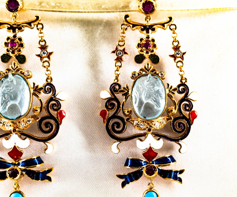 Art Nouveau White Diamond Ruby Coral Carved Topaz Yellow Gold Clip-On Earrings For Sale 2