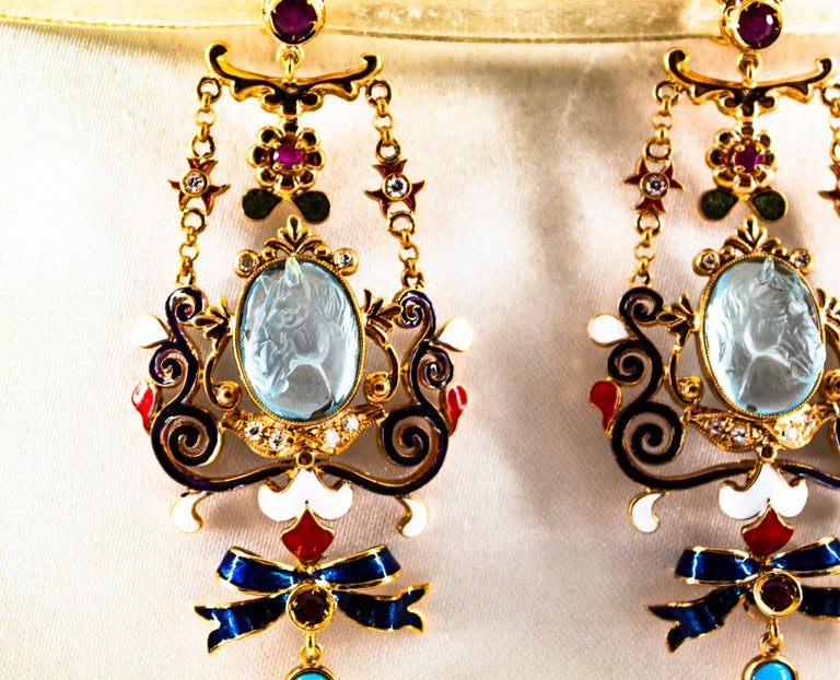 Art Nouveau White Diamond Ruby Coral Carved Topaz Yellow Gold Clip-On Earrings For Sale 3