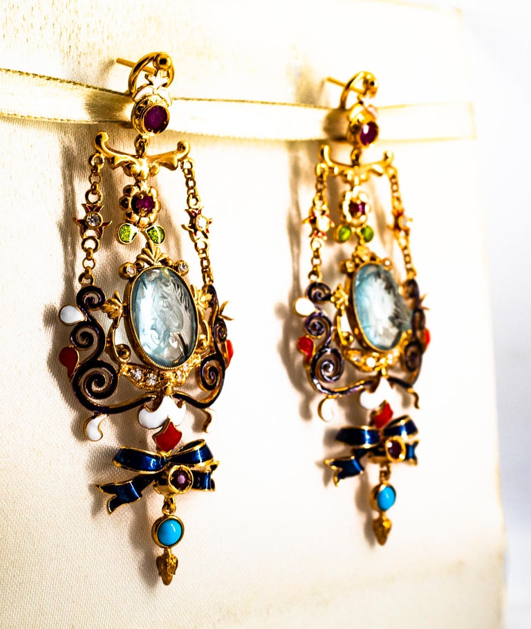 Art Nouveau White Diamond Ruby Coral Carved Topaz Yellow Gold Clip-On Earrings For Sale 4