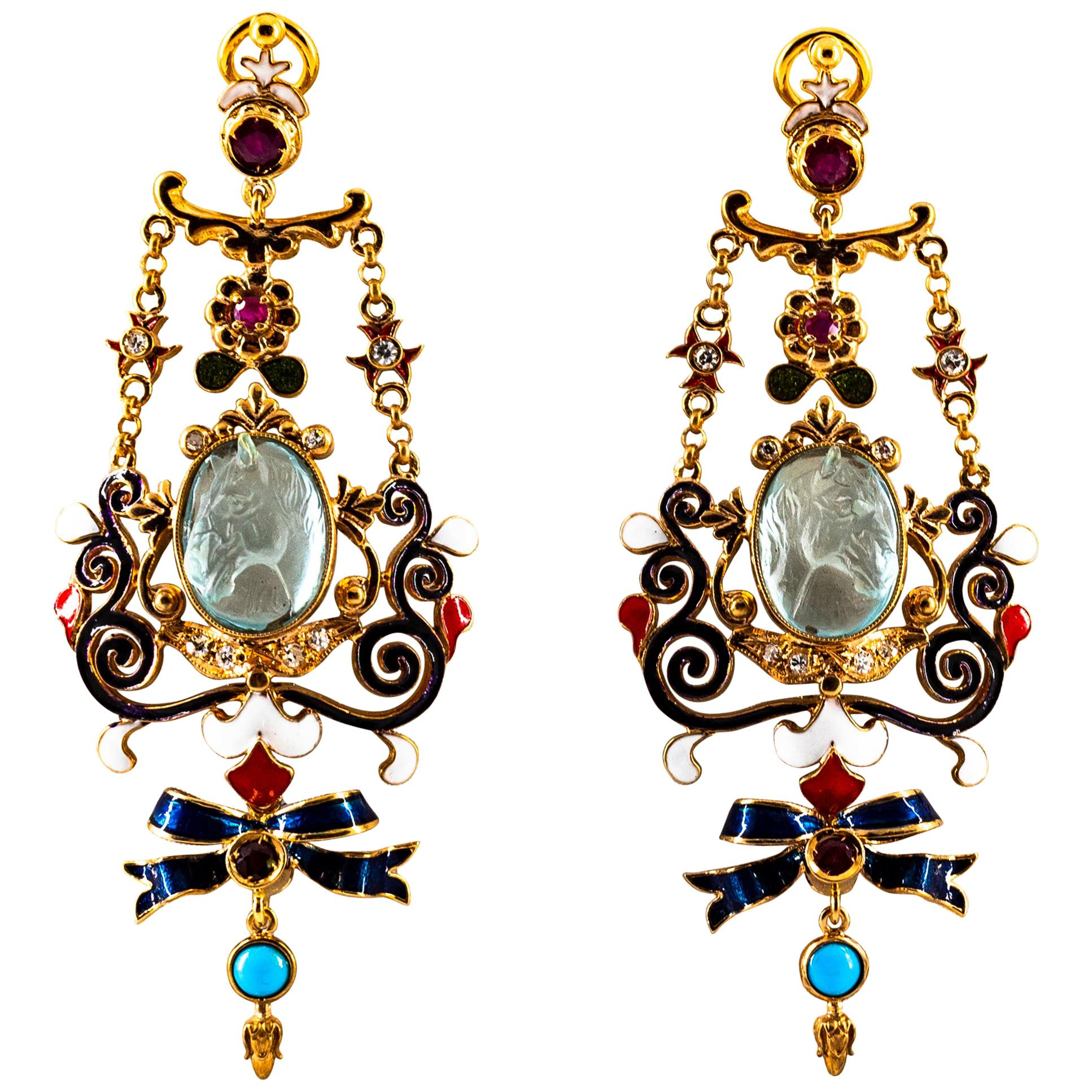 Art Nouveau White Diamond Ruby Coral Carved Topaz Yellow Gold Clip-On Earrings