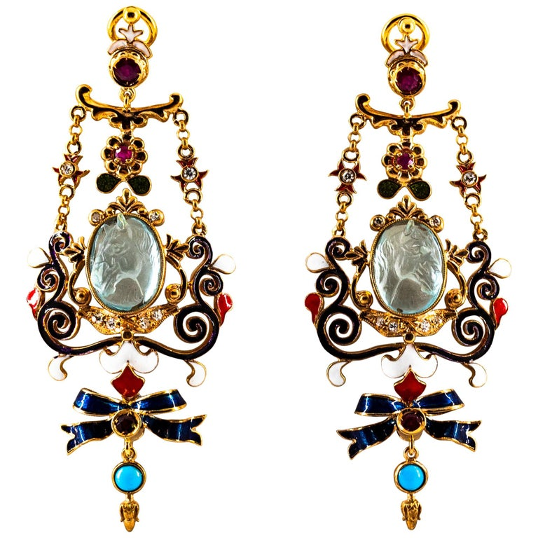 Art Nouveau White Diamond Ruby Coral Carved Topaz Yellow Gold Clip-On Earrings For Sale