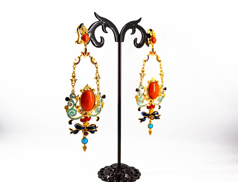 Art Nouveau White Diamond Ruby Coral Turquoise Yellow Gold Drop Clip-On Earrings For Sale 6