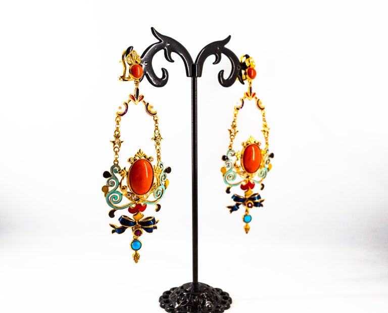 Art Nouveau White Diamond Ruby Coral Turquoise Yellow Gold Drop Clip-On Earrings For Sale 7