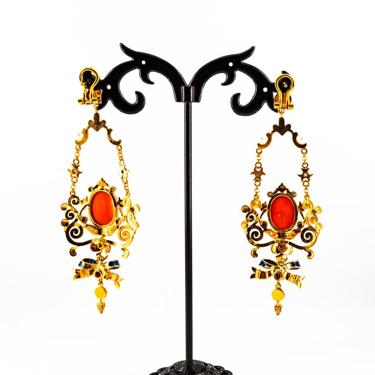 Art Nouveau White Diamond Ruby Coral Turquoise Yellow Gold Drop Clip-On Earrings For Sale 9
