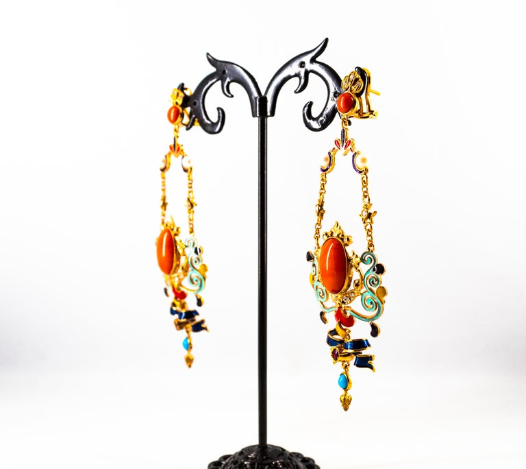 Art Nouveau White Diamond Ruby Coral Turquoise Yellow Gold Drop Clip-On Earrings For Sale 10