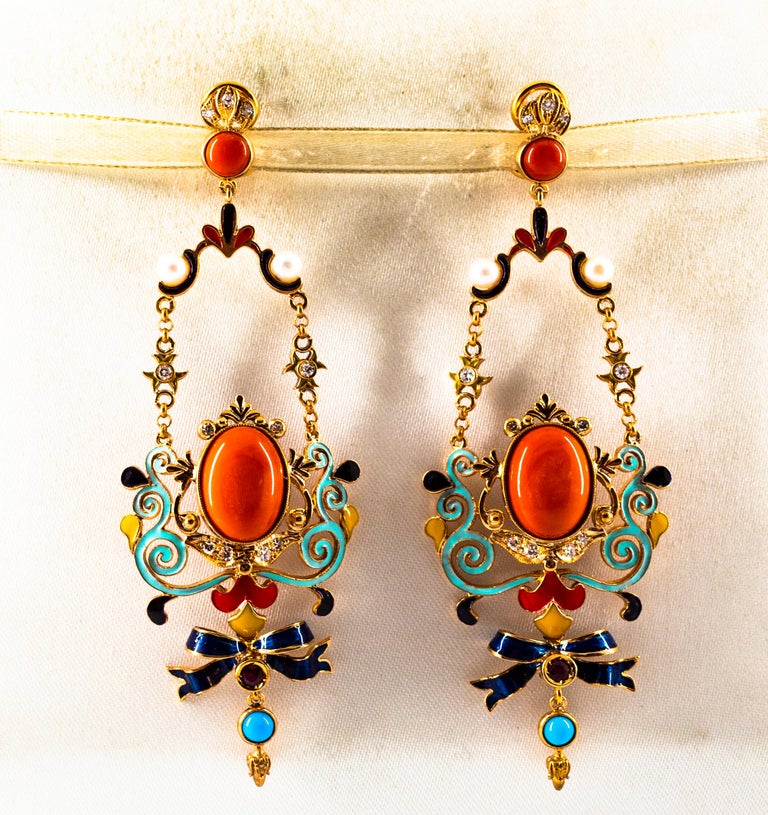 Art Nouveau White Diamond Ruby Coral Turquoise Yellow Gold Drop Clip-On Earrings In New Condition For Sale In Naples, IT