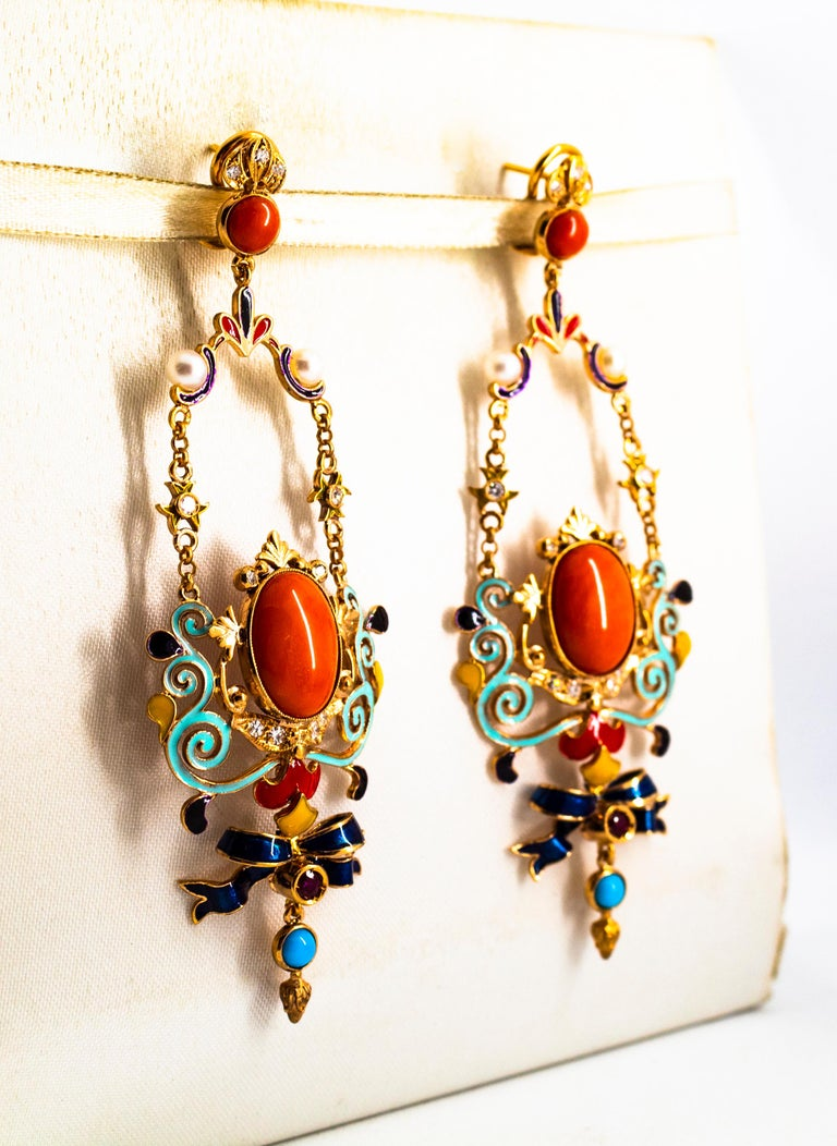Women's or Men's Art Nouveau White Diamond Ruby Coral Turquoise Yellow Gold Drop Clip-On Earrings For Sale