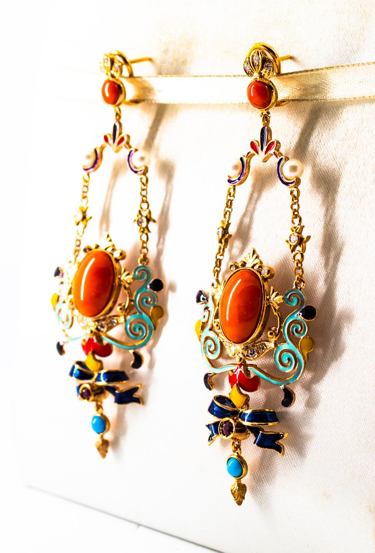 Art Nouveau White Diamond Ruby Coral Turquoise Yellow Gold Drop Clip-On Earrings For Sale 2