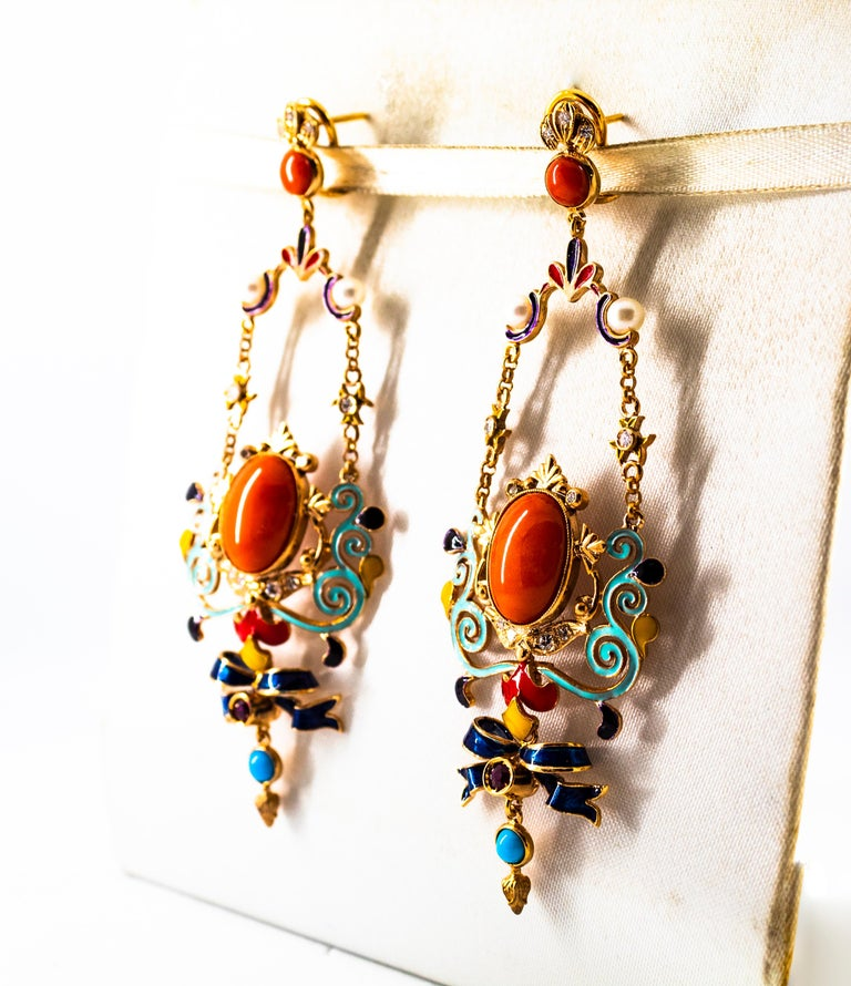 Art Nouveau White Diamond Ruby Coral Turquoise Yellow Gold Drop Clip-On Earrings For Sale 3