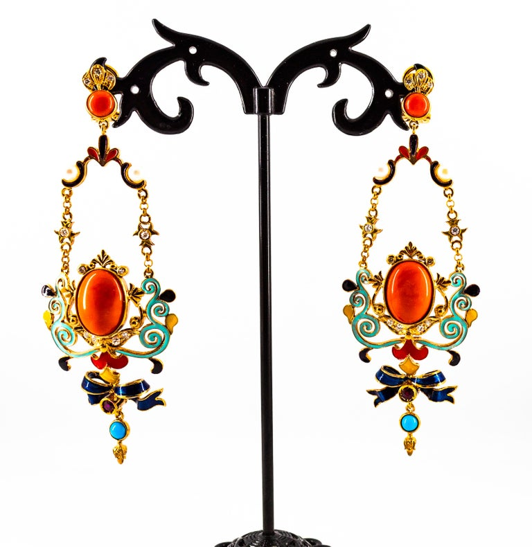 Art Nouveau White Diamond Ruby Coral Turquoise Yellow Gold Drop Clip-On Earrings For Sale 4