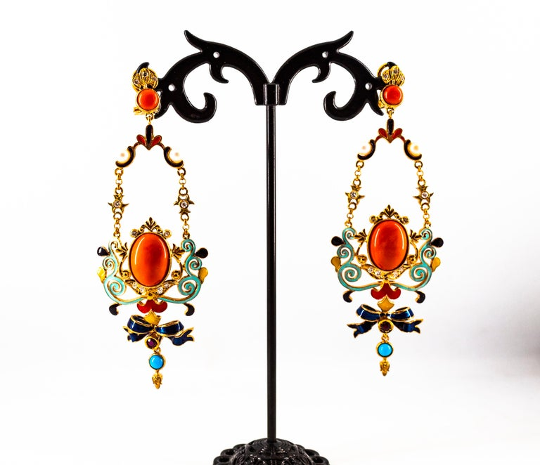 Art Nouveau White Diamond Ruby Coral Turquoise Yellow Gold Drop Clip-On Earrings For Sale 5