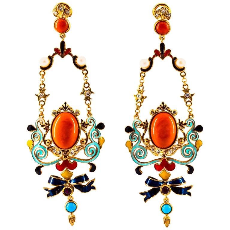 Art Nouveau White Diamond Ruby Coral Turquoise Yellow Gold Drop Clip-On Earrings For Sale
