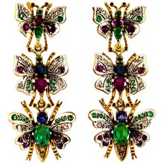 Art Nouveau White Diamond Ruby Emerald Sapphire Yellow Gold Butterflies Earrings