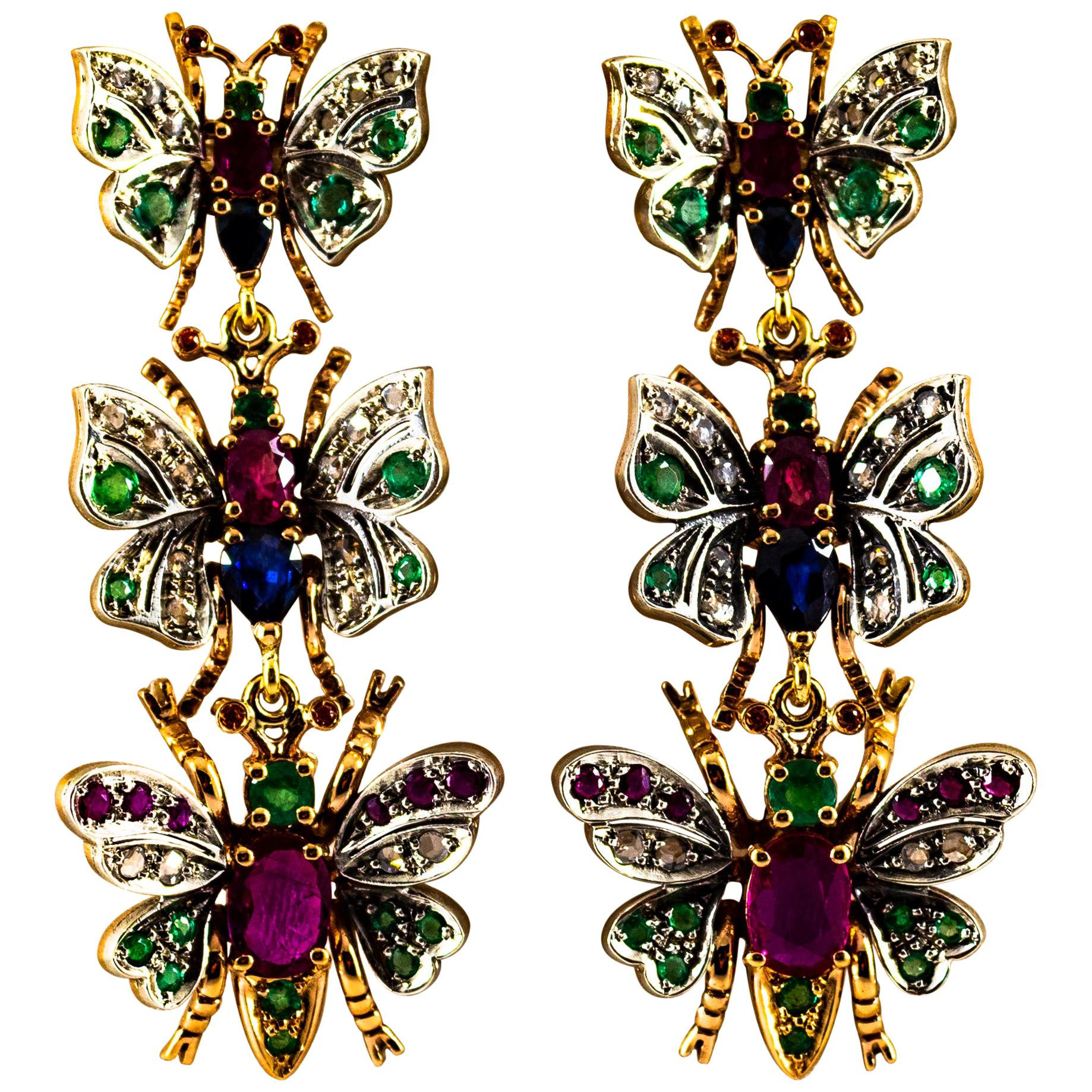 Art Nouveau White Diamond Ruby Emerald Sapphire Yellow Gold Butterflies Earrings