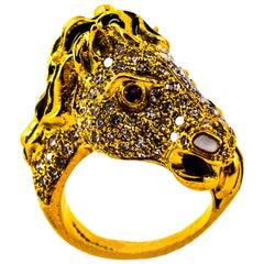 "Art Nouveau White Diamond Ruby Enamel Yellow Gold Cocktail Gucci ""Horse"" Ring"