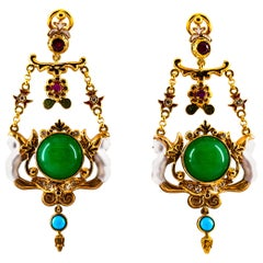 Art Nouveau White Diamond Ruby Jade Turquoise Yellow Gold Drop Clip-On Earrings