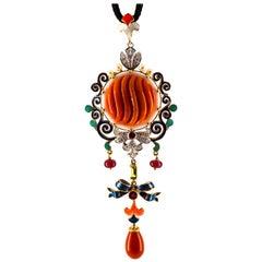 Art Nouveau White Diamond Ruby Peridot Coral Pearl Enamel Yellow Gold Necklace