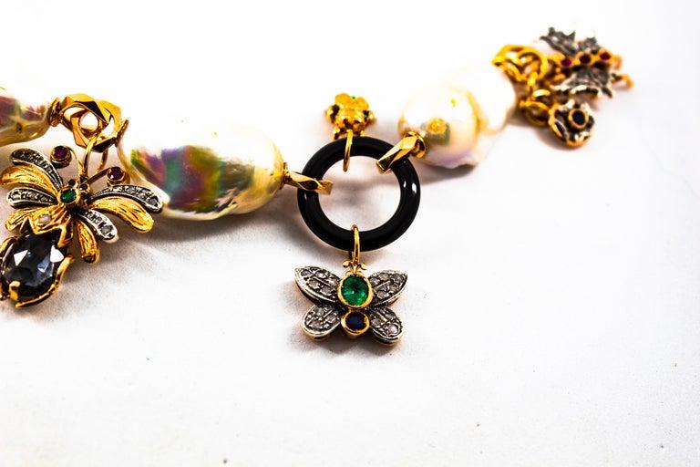 Art Nouveau White Diamond Ruby Sapphire Emerald Tourmaline Yellow Gold Bracelet For Sale 6