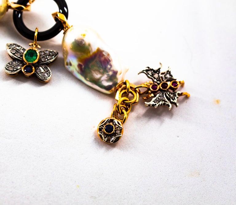 Art Nouveau White Diamond Ruby Sapphire Emerald Tourmaline Yellow Gold Bracelet For Sale 7