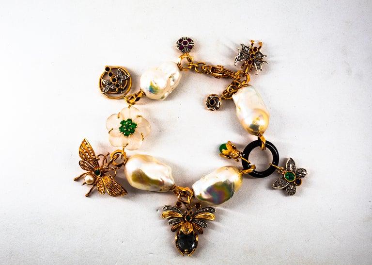 Art Nouveau White Diamond Ruby Sapphire Emerald Tourmaline Yellow Gold Bracelet For Sale 8